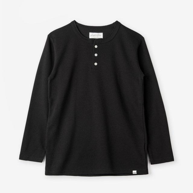 <span>Cotton&Silk Henley-neck Long Sleeve / Black</span>コットン&シルク ヘンリーネック長袖Tシャツ / ブラック