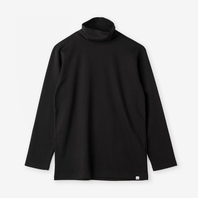 <span>Cotton&Silk Turtle-neck Long Sleeve / Black</span>コットン&シルク タートルネック長袖Tシャツ / ブラック