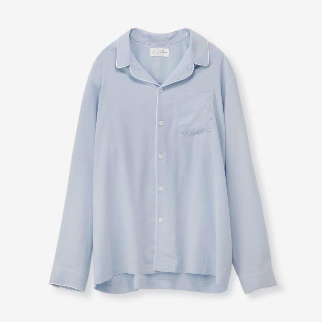 <span>Silk Pajama Shirts / Sax End on End</span>シルク パジャマシャツ / サックス無地
