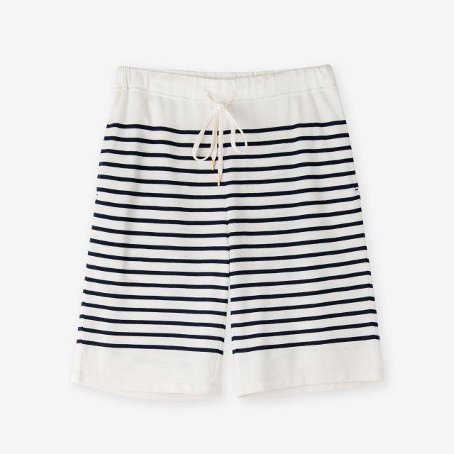 <span>Cotton&Silk Panel Border Pants / Off-White</span>コットン&シルク パネルボーダー パンツ / オフホワイト