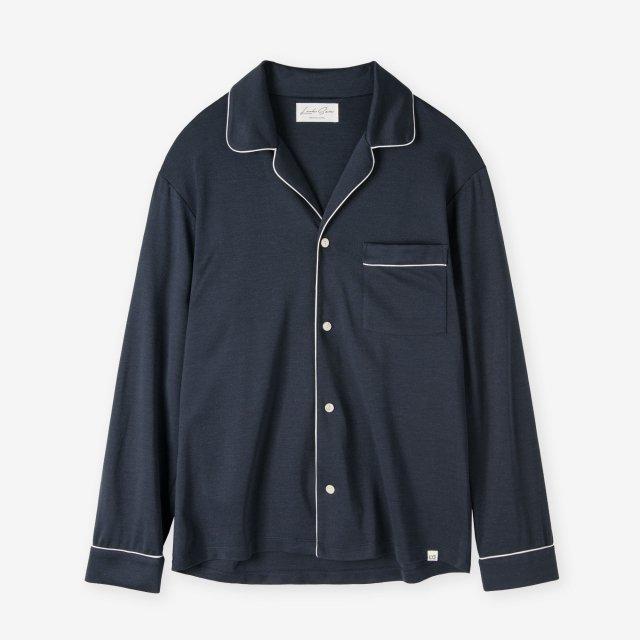<span>Spun Silk Pajama Shirts / Navy</span>絹紡シルク パジャマシャツ / ネイビー