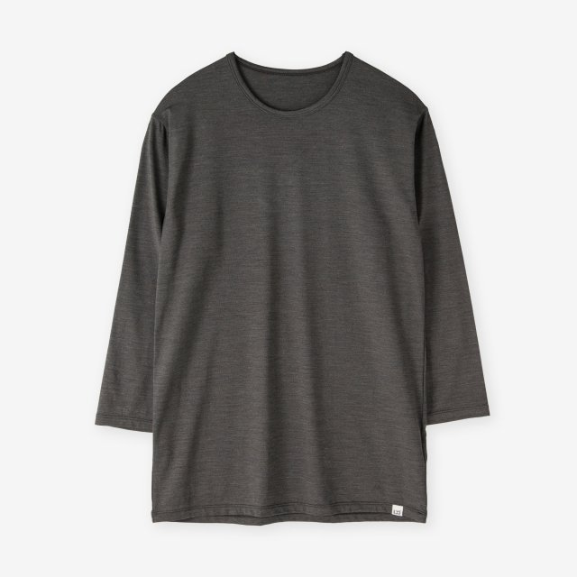 <span>Silk Inner Crew-neck three quarter sleeve / Grey</span>シルクインナークルーネック7分袖Tシャツ / チャコールグレー