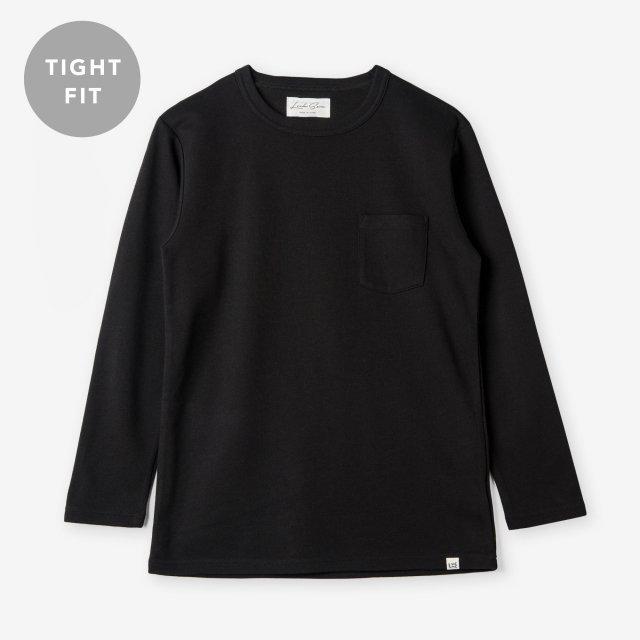 <span>Cotton&Silk Crew-neck Long Sleeve / Black</span>【TIGHT FIT】コットン&シルク クルーネック長袖Tシャツ / ブラック