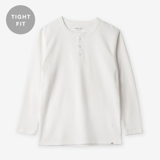 <span>Cotton&Silk Henley-neck Long Sleeve / White</span>【TIGHT FIT】コットン&シルク ヘンリーネック長袖Tシャツ / ホワイト