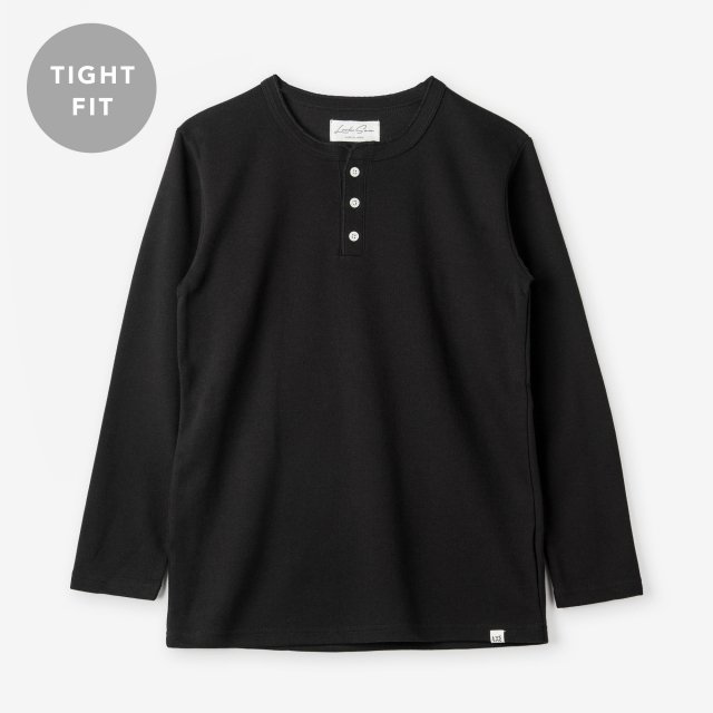 <span>Cotton&Silk Henley-neck Long Sleeve / Black</span>【TIGHT FIT】コットン&シルク ヘンリーネック長袖Tシャツ / ブラック