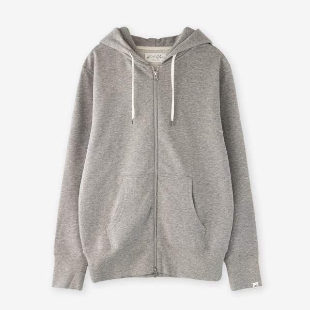 <span>Cotton&Silk Zip-up Brushed Sweat Hoody / Grey</span>コットン&シルク 裏毛起毛スウェットジップパーカー / グレー