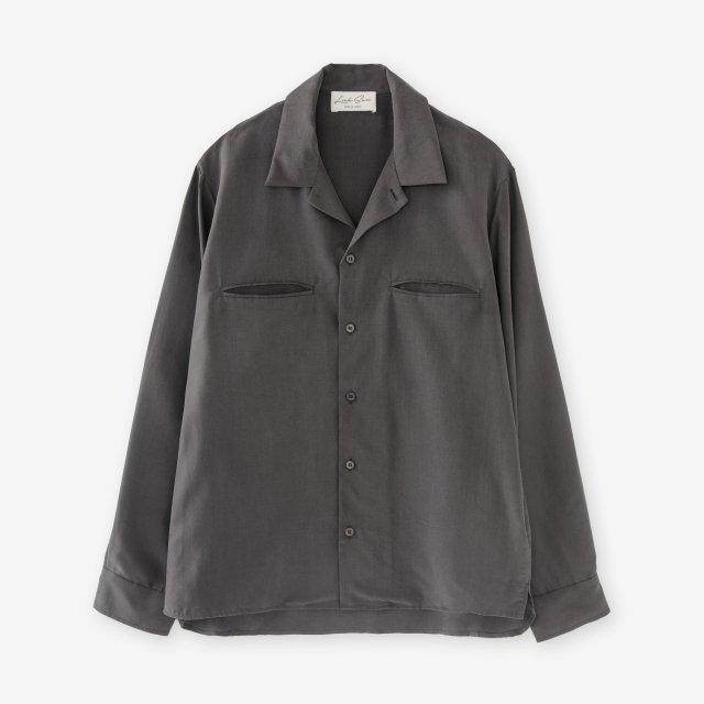 <span>Silk Open Collar Shirts / Charcoal Grey</span>シルク 開襟シャツ / チャコールグレイ