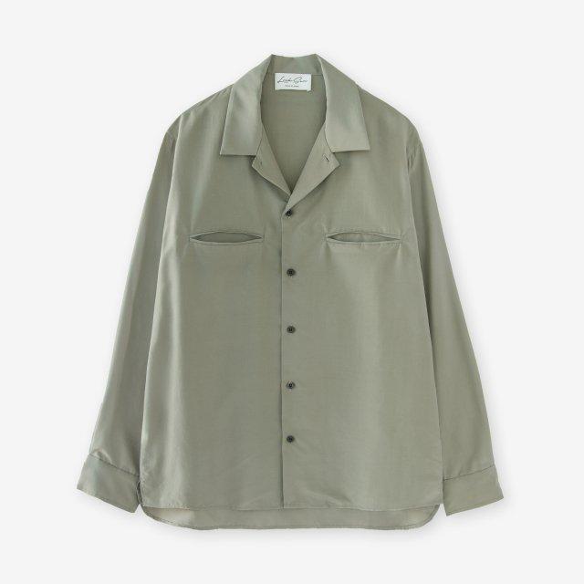 <span>Silk Open Collar Shirts / Khaki</span>シルク 開襟シャツ / カーキ