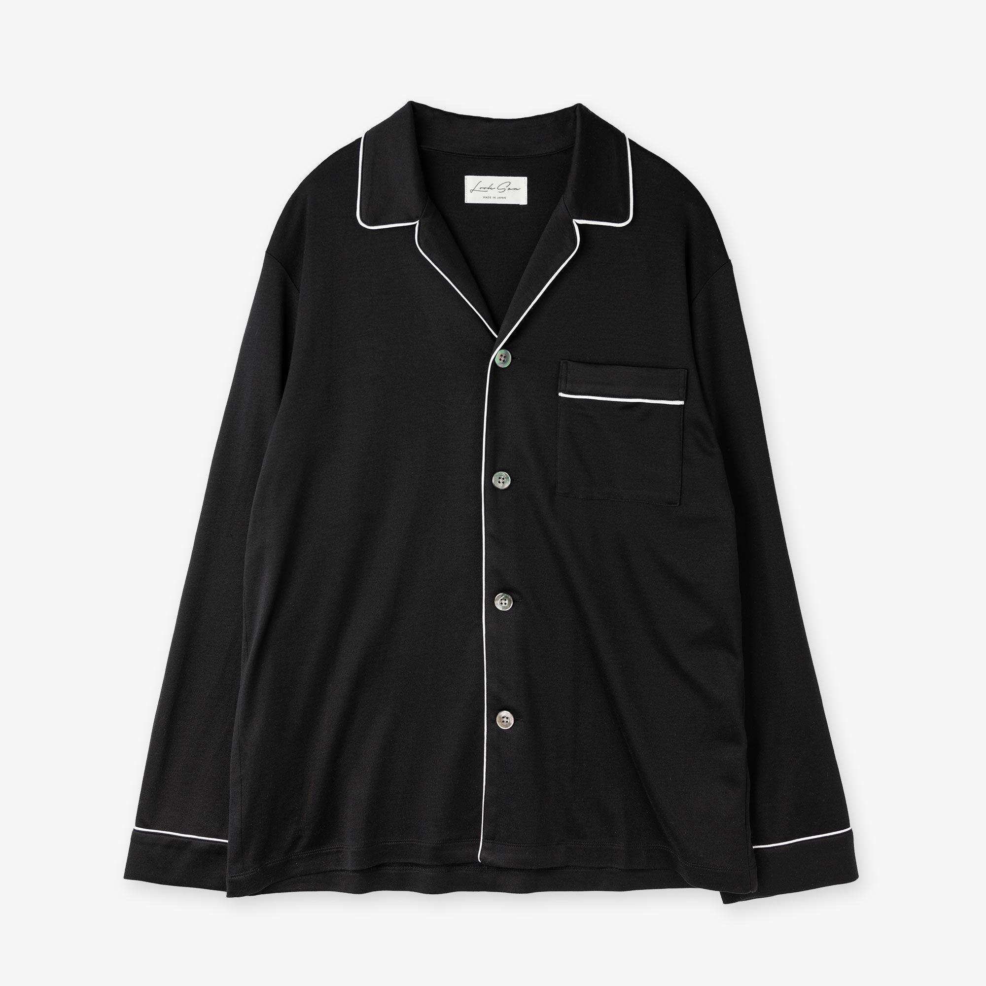 絹紡シルク パジャマシャツ / ブラック