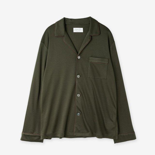 <span>Spun Silk Pajama Shirts / Khaki</span>絹紡シルク パジャマシャツ / カーキ