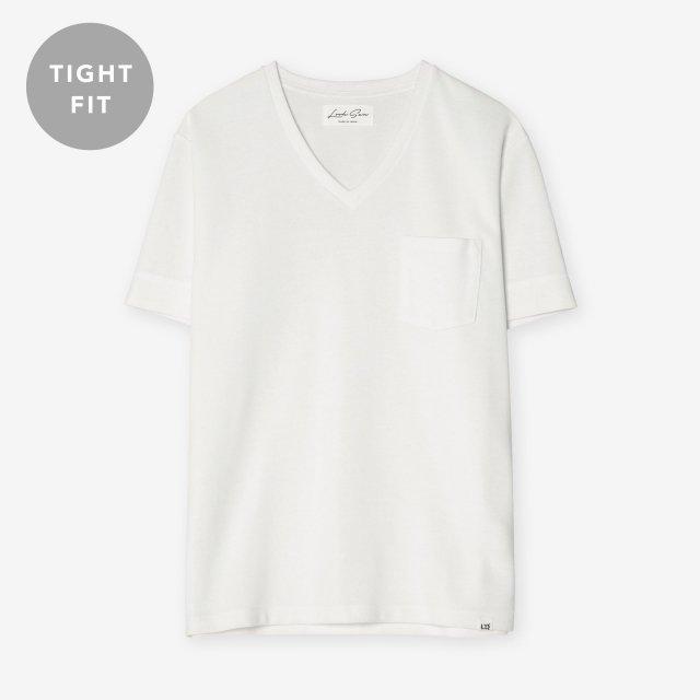 <span>Cotton&Silk V-neck T-shirts / White</span>【TIGHT FIT】コットン&シルク VネックTシャツ / ホワイト
