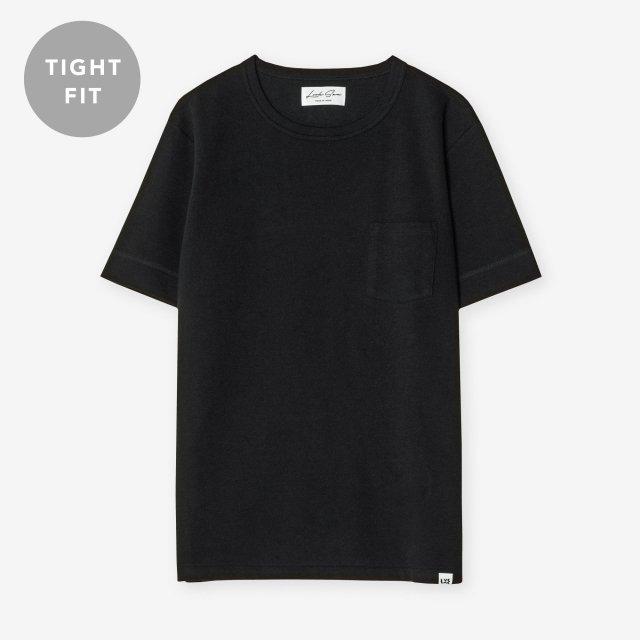 <span>Cotton & Silk Crew-neck T-shirts / Black</span>【TIGHT FIT】コットン&シルク クルーネックTシャツ / ブラック