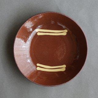 中川紀夫作 スリップウエア 丸鉢・レッド