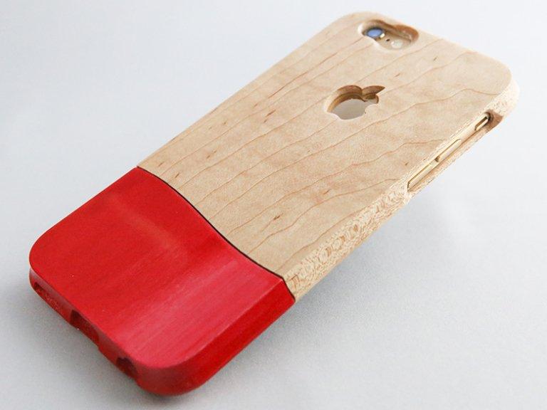《ご予約販売》 オーダーメイド   【 ウッドケース for iPhone レッド】 天然木  軽くて 握り易い  木製 スマホケース 全機種 対応!   永久保証  (壊れても安心 無償交換 )