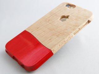 《ご予約販売》 オーダーメイド   【 ウッドケース for iPhone レッド】 天然木  軽くて 握り易い  木製 スマホケース 全機種 対応! 壊れても安心 永久保証  !
