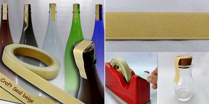 酒瓶 ・ 焼酎瓶 クラフトシール ベージュ craftseal-beige 20m