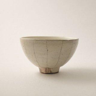 茶椀 (たて鉄線) 大 粉引   [古谷浩一]
