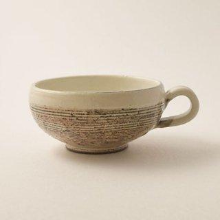 手付きスープカップ (丸) 渕荒横彫 粉引  [古谷浩一]