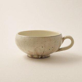 手付きスープカップ (丸) たて鉄線 粉引  [古谷浩一]