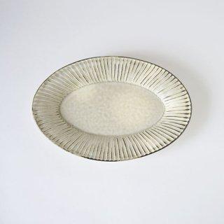 縞 オーバル皿 M 灰粉引 [小倉夏樹]
