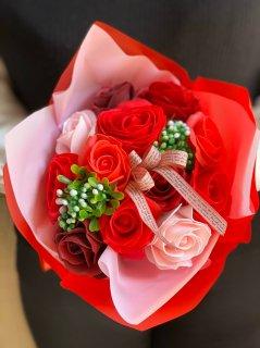 シャボン フラワー 花束 レッド