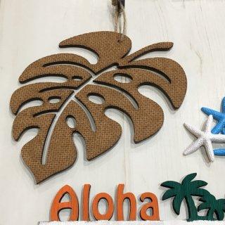 ハワイアン調 モンステラ インテリアプレート 壁掛けプレート MDF板 手作り雑貨 Hawaii