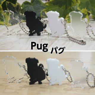 PUG パグ シルエット キーホルダー 選べるカラー4色 モノクロ クリア マット 犬グッズ DOG エレガントチャーム アクリル製 白黒