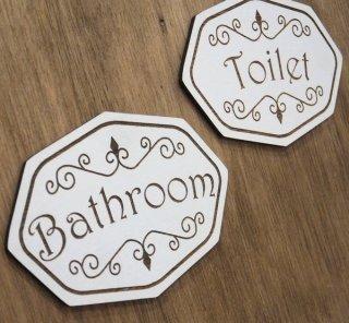 ヨーロピアン調 木製 ドアプレート エレガント ルームプレート トイレ バスルーム おしゃれ