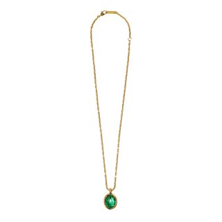 OVAL CUT STONE CHARM NECKLACE
