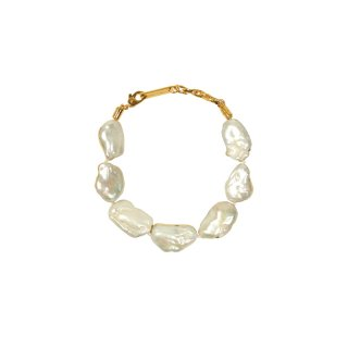 METAL DIPPED BAROQUE PEARL BRACELET