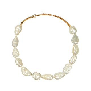 METAL DIPPED BAROQUE PEARL NECKLACE