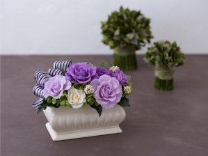 紫のバラのプリザーブドフラワーアレンジメント  メアリー(パープル) ※ギフトタイプ3