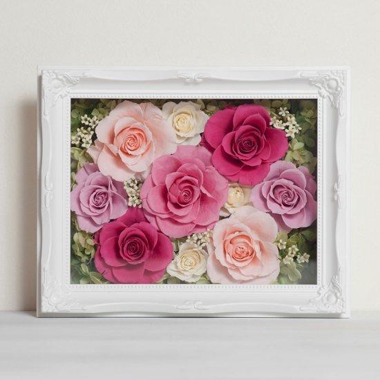 ピンクのプリザーブドフラワー 壁掛け豪華なボックスフレームアレンジメント ヨーロピアン (ピンク) ※ギフトタイプ2