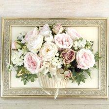花絵 ベビーピンクのバラのアレンジ 壁掛けフレームフラワー