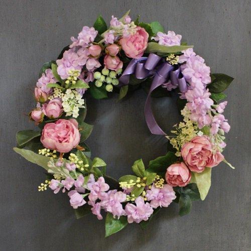 ライラックとピンクのバラのフラワーリース