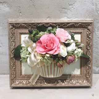 花絵 ピンクのバラの壁掛けアレンジ ※ギフトタイプ5