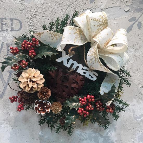 白いリボンのクリスマスリース※ギフトタイプ4