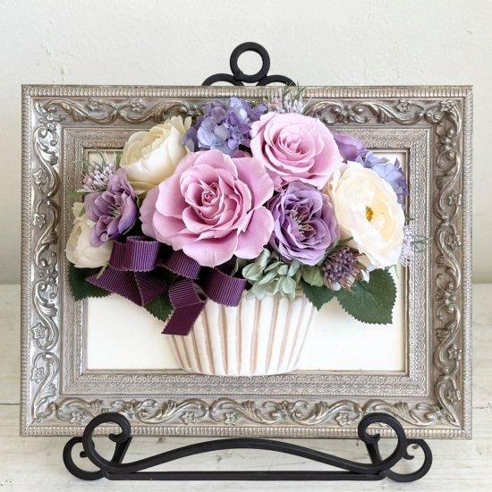 花絵 ピンクと紫のバラの壁掛けアレンジ※ギフトタイプ5