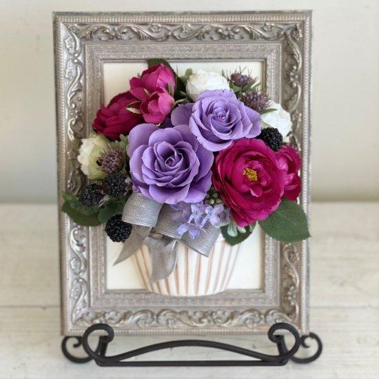 花絵 赤紫とラベンダー色のバラ 壁掛けアレンジ※ギフトタイプ5
