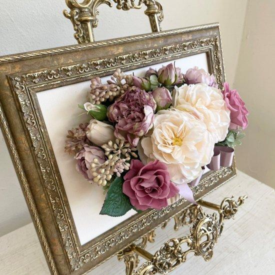 花絵 白い大輪のバラの壁掛けアレンジ※ギフトタイプ5