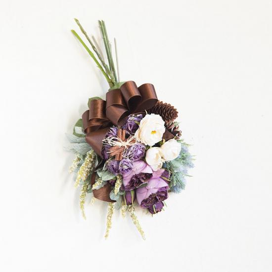 紫と白のバラたっぷりのスワッグ※ギフトタイプ1