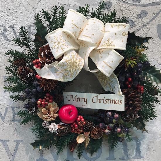 白いリボンが可愛いクリスマスリース※ギフトタイプ4