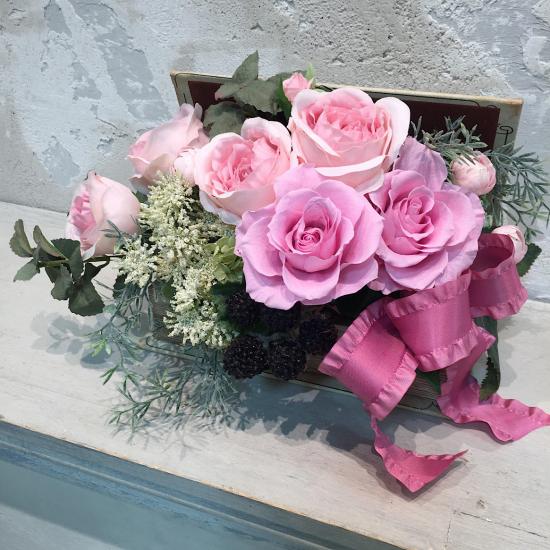 ブック型 ピンクのバラのアレンジ※ギフトタイプ1