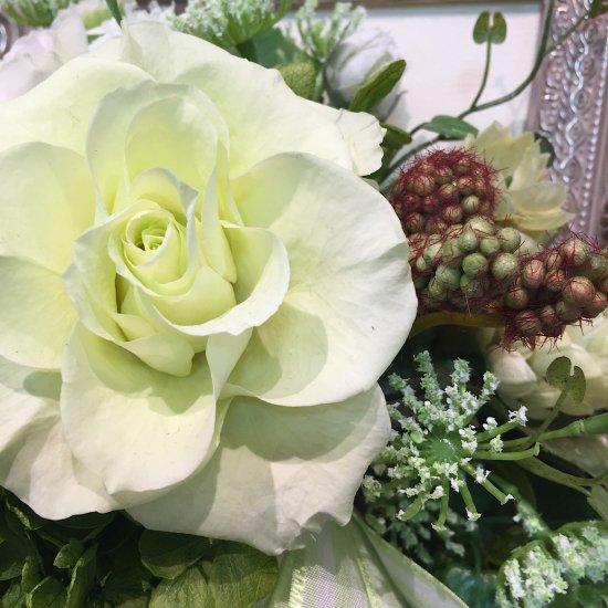 花絵 グリーンのバラの壁掛けアレンジ ※ギフトタイプ5