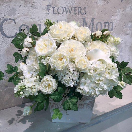 白いバラたっぷりの豪華なアレンジメント ※ギフトタイプ1
