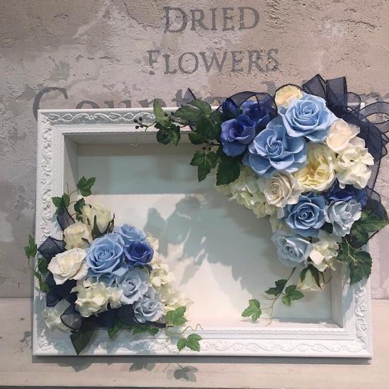 爽やかなブルーのバラ ウエルカムボード