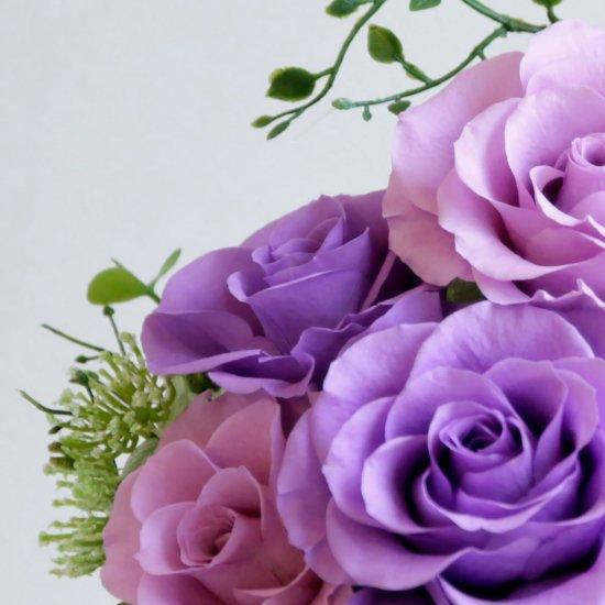 濃淡の紫のバラのプリザーブドフラワーアレンジ 「シャーロット」パープル