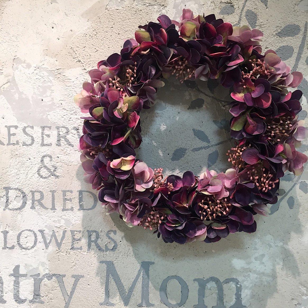 秋色 紫陽花リース