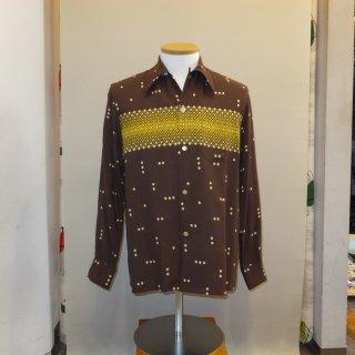 Vintage Atomic Print Style Box Shirt L/S Brown