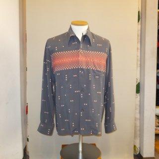 Vintage Atomic Print Style Box Shirt L/S Gray